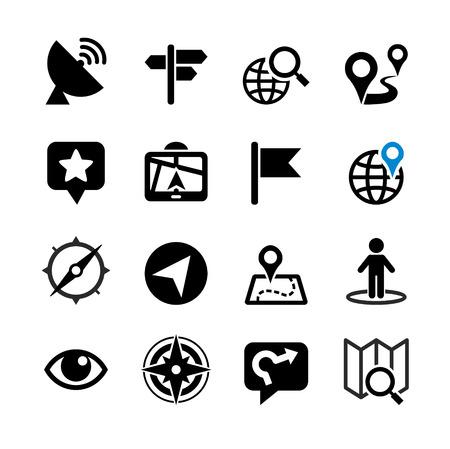 carte: Ensemble de 16 icônes web Lieu, navigation, carte
