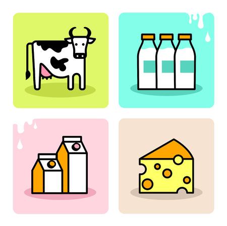 milk bottle: Dairy milk icon set