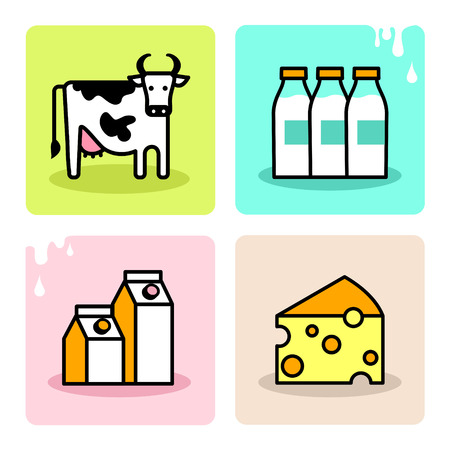 carton de leche: Leche Dairy icon set