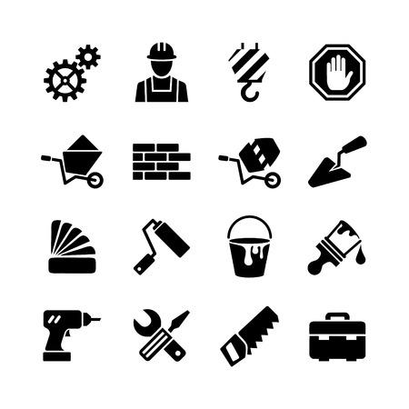albañil: web iconos conjunto - edificio, construcción, reparación y decoración