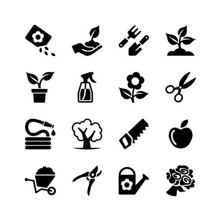 Web icon set -Tuin, gereedschap, water geven Stock Illustratie