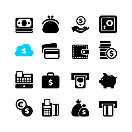 caja registradora: Web icon set - dinero, dinero en efectivo, tarjeta de