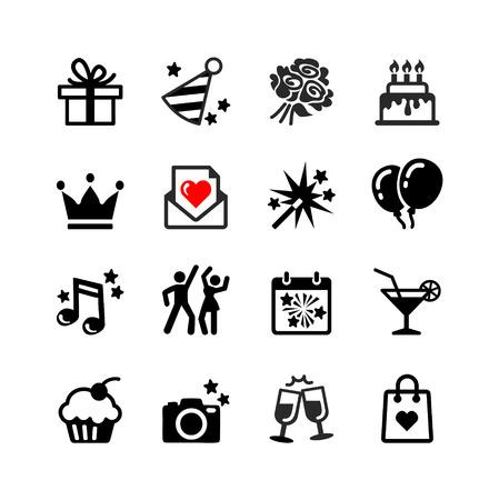 gateau anniversaire: Fête, Anniversaire, fête -16 web icône ensemble