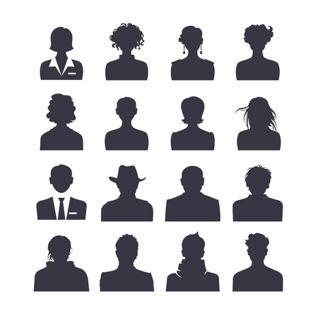 volto uomo: Web set di icone di persone avatar Vettoriali