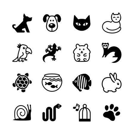Set of 16 web icons  Pet shop, types of pets  Vector