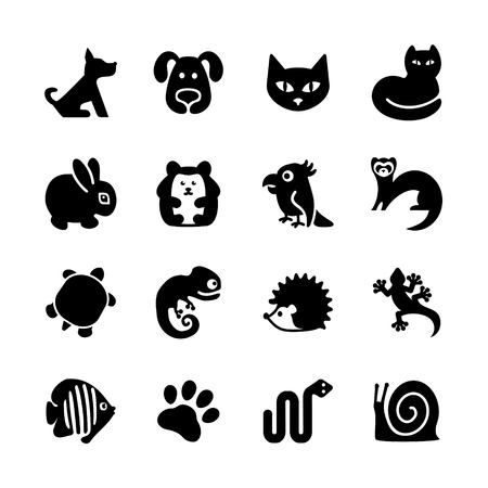 bird cage: Web icons set  Pet shop, types of pets