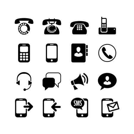 retro phone: Web icons set   ommunication, call, phone