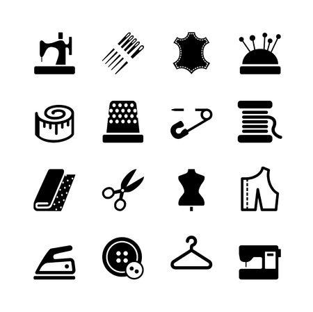 Vector sewing equipment and needlework icon set Illustration