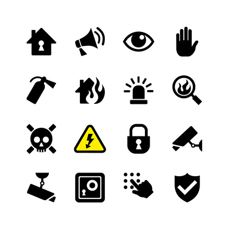 security monitor: Web icon set - danger, fire, security, surveillance