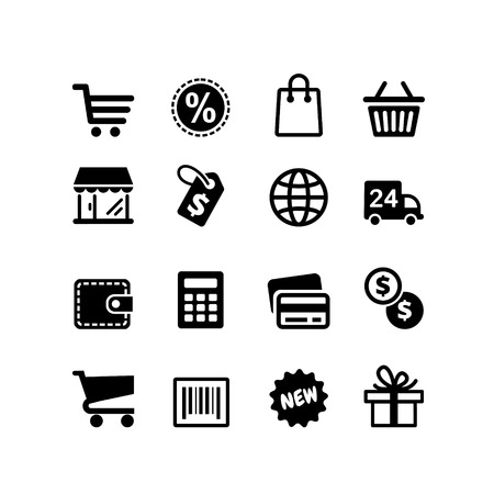 cart cash: Web icons set  Shopping pictograms Illustration