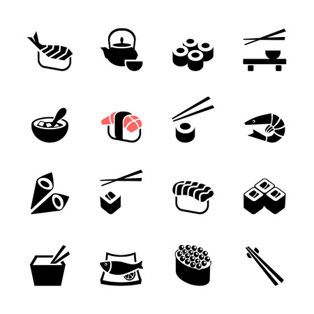 Japanese food Sushi collection  Web icon set Vector