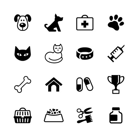 Web icons set - pets, vet clinic, veterinary medicine