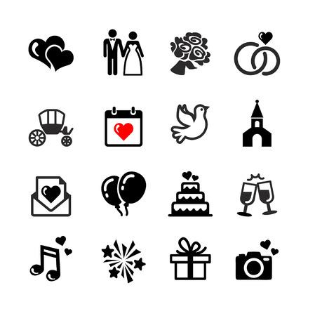 anillos de boda: Web icons set - boda, matrimonio, novia