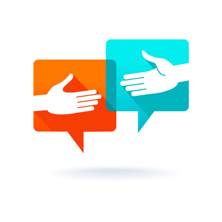 social worker: Dialog bubbles with shaking hands Illustration
