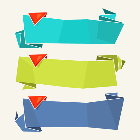 Origami Paper Banners Vector collection