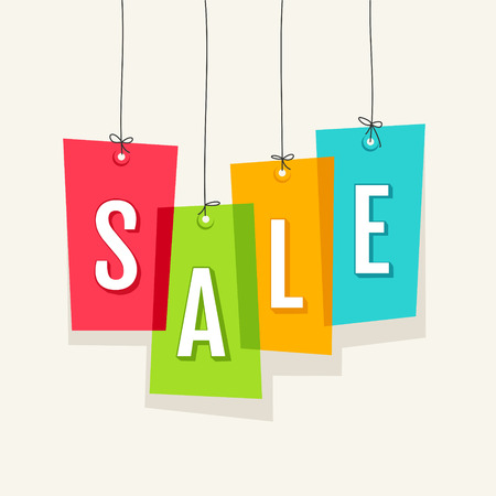 Sale tag on colored hanging labels