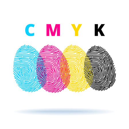Fingerprints and CMYK colors mode - printing concept Ilustrace