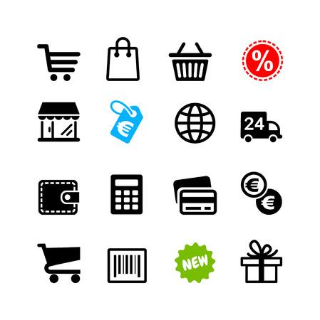 Web アイコン設定ショッピング ピクトグラム、ユーロ