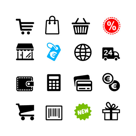 Web icons set Winkelen pictogrammen, Euro Stock Illustratie