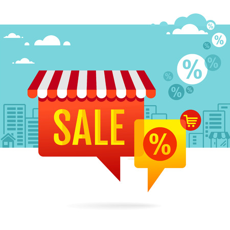 Sale symbol  Speech bubbles with awning Vector