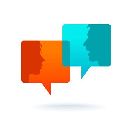 Dialog - Sprechblasen mit zwei Gesichtern