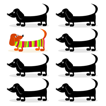 dachshund dogs - think differently Vector