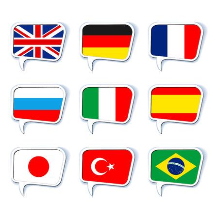 bandera inglesa: Burbujas del discurso. Idiomas