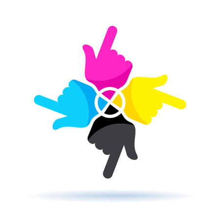 four color printing: cmyk concept, four colorful hands isolated on white