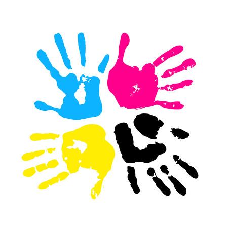 manos sucias: De color CMYK. Huella de mano