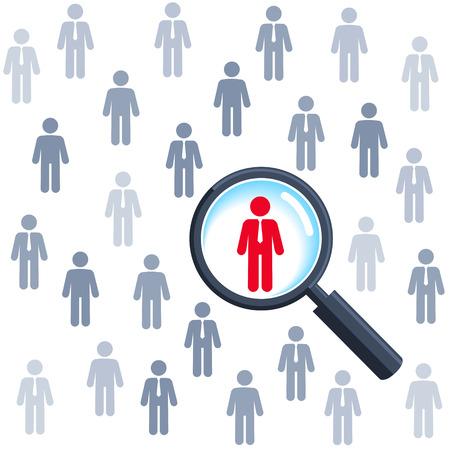 Hledání práce a volba povolání, zvětšovací sklo vyhledávání lidí Ilustrace