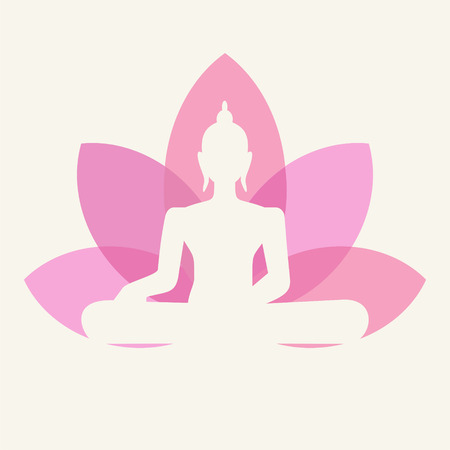 sch�ne blumen: Silhouette von Buddha sitzt auf einem Lotusbl�te Hintergrund