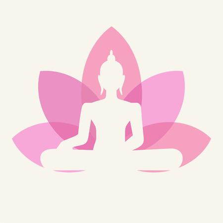 flores abstractas: Silueta de Buda sentado sobre una flor de loto