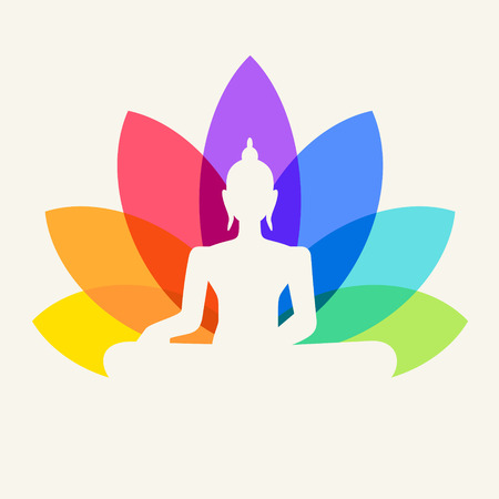 positions: Silhouette of Buddha sitting on a lotus flower background