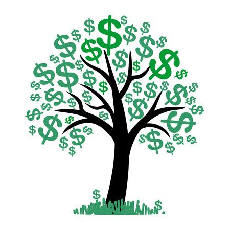gain money: Vecteur de l'argent arbre - symbole de l'entreprise prospère Illustration