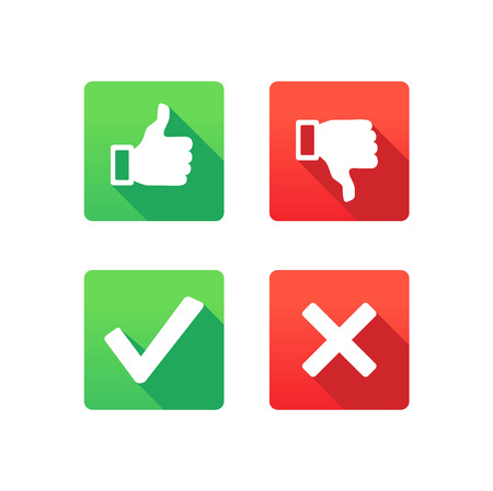 Yes, No, Thumbs up and down icons Фото со стока - 32092679