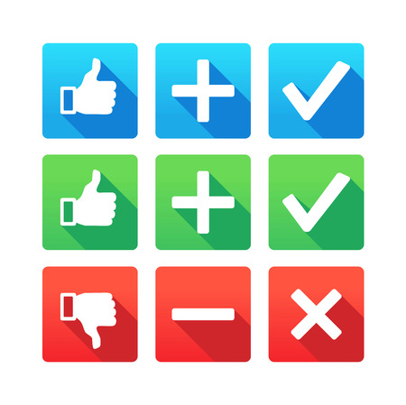 good and bad: Yes, No, Plus, Minus, Thumbs up and down icons