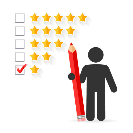 five star: Check mark with red pencil on five star rating