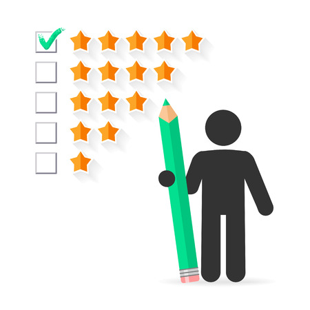 popularity: Check mark with green pencil on five star rating