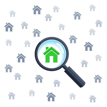 Choosing home with magnifying glass 版權商用圖片 - 32092698