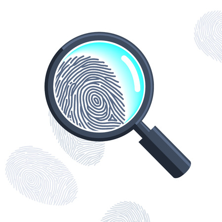 Magnifying glass with fingerprint isolated on the white Vector