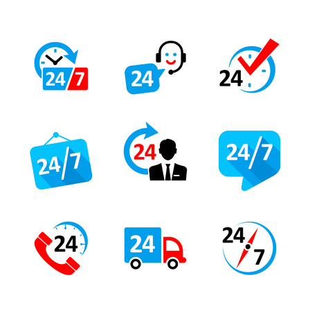 24 hour: Web icon set - nonstop service, delivery, support, call center