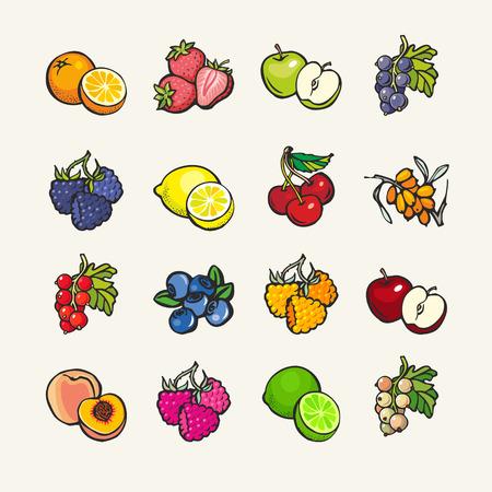 manzana caricatura: Conjunto de iconos de dibujos animados - frutas y bayas