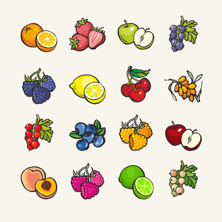 Set of cartoon icons - fruits and berries Vectores