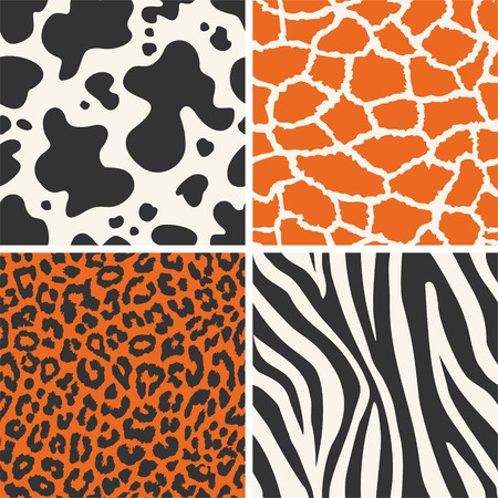 Collection of four seamless skin animal texture Vector