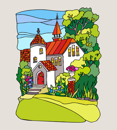 glass doors: Stained glass style. Summer landscape with a beautiful mansion