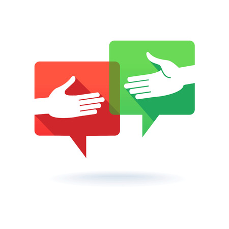 mutual assistance: Speech bubbles with shaking hands