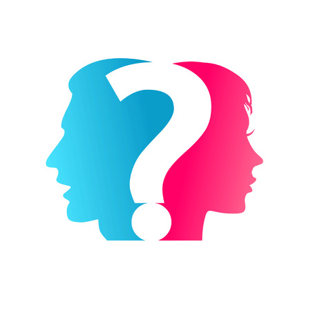 question marks: concept Couple and question mark Illustration
