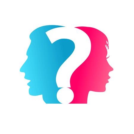 cabeza de mujer: concepto Pareja y signo de interrogaci�n Vectores