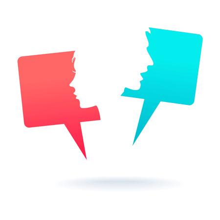 Menschen Icons mit bunten Dialog Sprechblasen Illustration