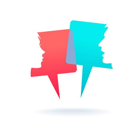 mensen pictogrammen met kleurrijke dialoogvenster tekstballonnen Stock Illustratie